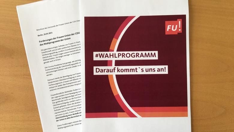 Forderungen der Frauen Union der CDU Deutschlands für das Wahlprgramm der Union